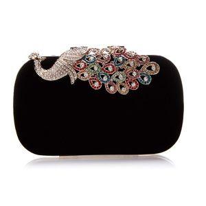 Handbags - Elegant Rhinestone Peacock Clasp Velvet Handbag